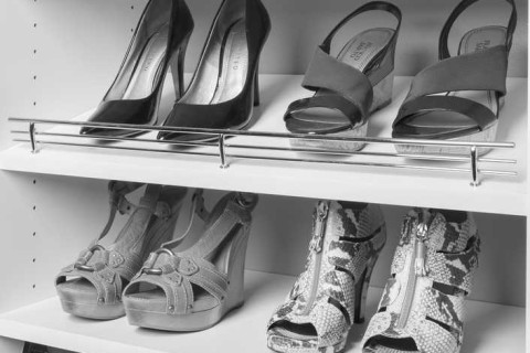Chrome Shoe Fences on White Shelves