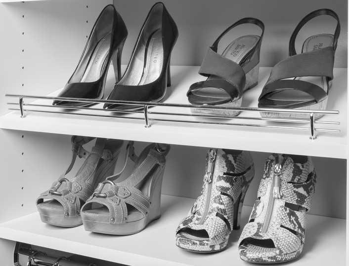Chrome Shoe Fences on White Shelves